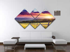 Majestic sunset in Carpathian 4 Square Multi Panel Canvas  - Canvas Art Rocks - 3