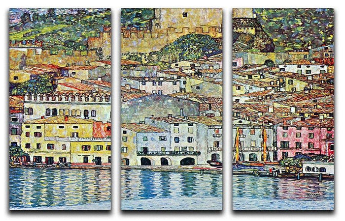 Malcena at the Gardasee by Klimt 3 Split Panel Canvas Print