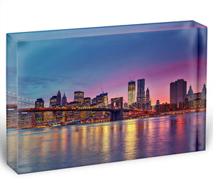 Manhattan at dusk Acrylic Block - Canvas Art Rocks - 1