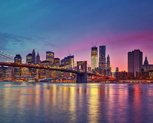 Manhattan at dusk Wall Mural Wallpaper - Canvas Art Rocks - 1