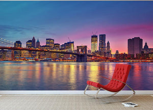 Manhattan at dusk Wall Mural Wallpaper - Canvas Art Rocks - 2
