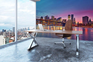 Manhattan at dusk Wall Mural Wallpaper - Canvas Art Rocks - 3
