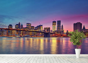 Manhattan at dusk Wall Mural Wallpaper - Canvas Art Rocks - 4