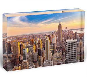 Manhattan at sunset Acrylic Block - Canvas Art Rocks - 1