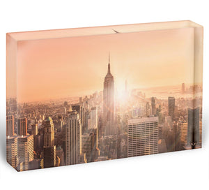 Manhattan downtown skyline with illuminated Empire State Building Acrylic Block - Canvas Art Rocks - 1