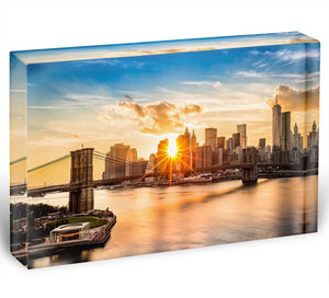 Manhattan skyline at sunset Acrylic Block - Canvas Art Rocks - 1
