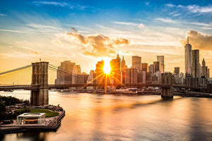 Manhattan skyline at sunset Wall Mural Wallpaper - Canvas Art Rocks - 1