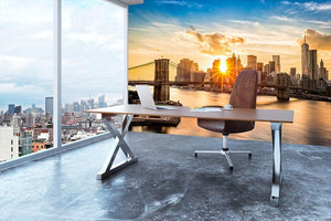 Manhattan skyline at sunset Wall Mural Wallpaper - Canvas Art Rocks - 3