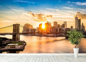 Manhattan skyline at sunset Wall Mural Wallpaper - Canvas Art Rocks - 4