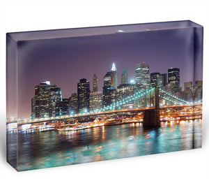 Manhattan skyline with skyscrapers over Hudson River Acrylic Block - Canvas Art Rocks - 1