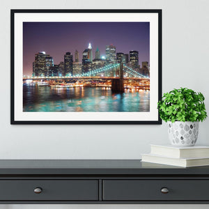 Manhattan skyline with skyscrapers over Hudson River Framed Print - Canvas Art Rocks - 1