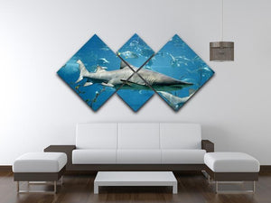 Marine fish underwater 4 Square Multi Panel Canvas  - Canvas Art Rocks - 3