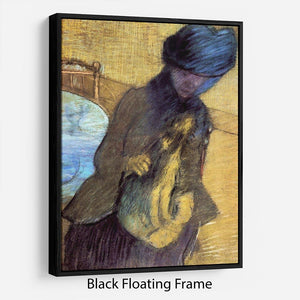Mary Cassatt with her dog by Degas Floating Frame Canvas - Canvas Art Rocks - 1