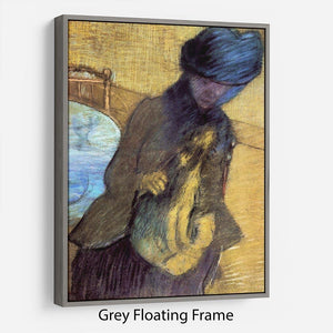 Mary Cassatt with her dog by Degas Floating Frame Canvas - Canvas Art Rocks - 3