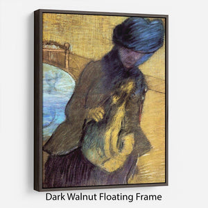 Mary Cassatt with her dog by Degas Floating Frame Canvas - Canvas Art Rocks - 5