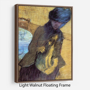 Mary Cassatt with her dog by Degas Floating Frame Canvas - Canvas Art Rocks 7