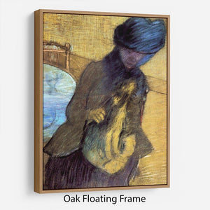 Mary Cassatt with her dog by Degas Floating Frame Canvas - Canvas Art Rocks - 9