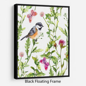 Meadow with butterflies Floating Frame Canvas