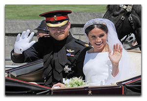 Meghan and Prince Harry wave to the crowds Canvas Print or Poster  - Canvas Art Rocks - 1