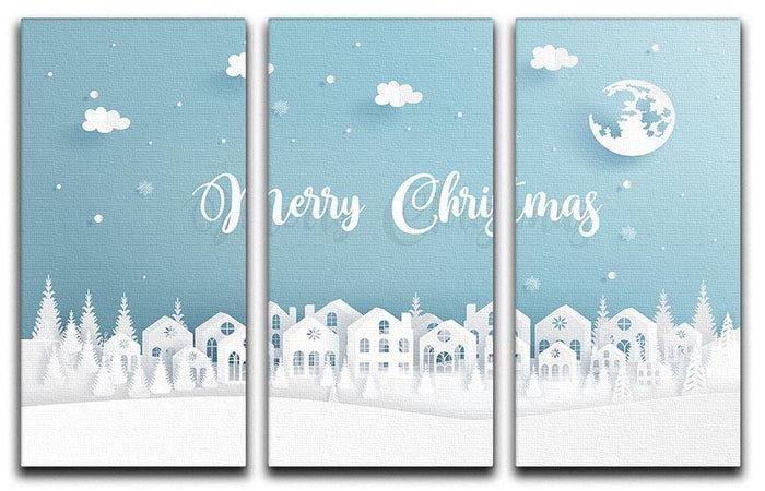 Merry Christmas Town 3 Split Panel Canvas Print