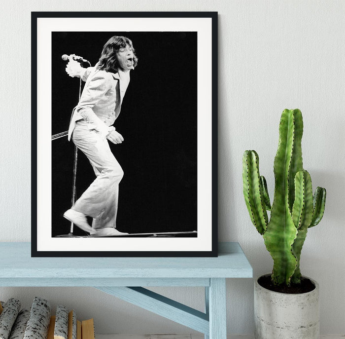 Mick Jagger on stage seventies Framed Print