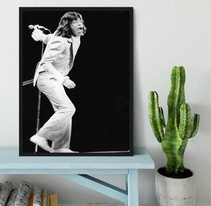 Mick Jagger on stage seventies Framed Print - Canvas Art Rocks - 2