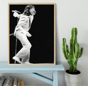 Mick Jagger on stage seventies Framed Print - Canvas Art Rocks - 4