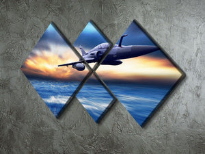 Military airplan on the speed 4 Square Multi Panel Canvas  - Canvas Art Rocks - 2