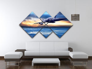 Military airplan on the speed 4 Square Multi Panel Canvas  - Canvas Art Rocks - 3
