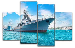 Military sea landscape with blue sky 4 Split Panel Canvas  - Canvas Art Rocks - 1