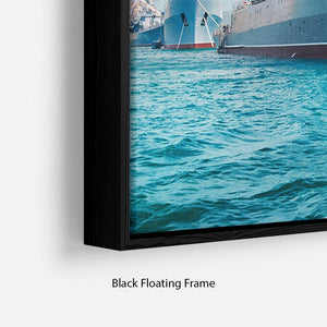 Military sea landscape with blue sky Floating Frame Canvas