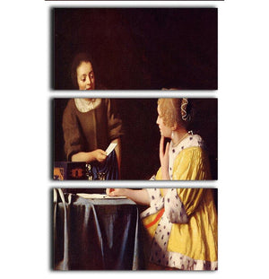 Mistress and maid by Vermeer 3 Split Panel Canvas Print - Canvas Art Rocks - 1