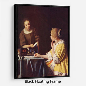 Mistress and maid by Vermeer Floating Frame Canvas - Canvas Art Rocks - 1