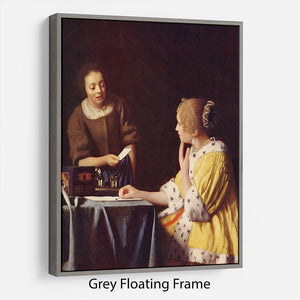 Mistress and maid by Vermeer Floating Frame Canvas - Canvas Art Rocks - 3