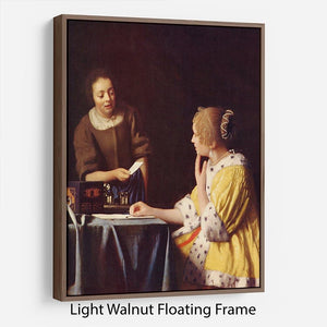 Mistress and maid by Vermeer Floating Frame Canvas - Canvas Art Rocks 7