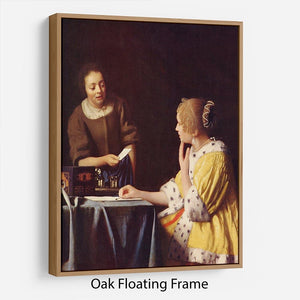 Mistress and maid by Vermeer Floating Frame Canvas - Canvas Art Rocks - 9