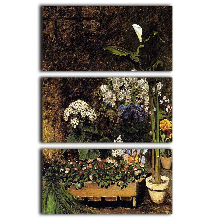Mixed Spring Flowers by Renoir 3 Split Panel Canvas Print