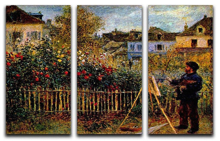 Monet painting in his garden in Argenteuil Split Panel Canvas Print