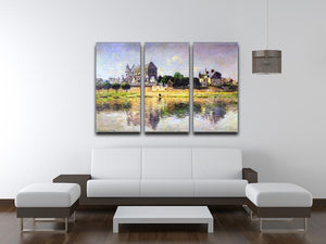 Monets garden in Vetheuil by Monet Split Panel Canvas Print - Canvas Art Rocks - 4