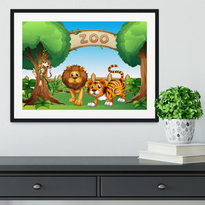 Monkey lion and a tiger at Zoo Framed Print - Canvas Art Rocks - 1