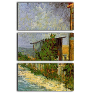 Montmartre Path with Sunflowers by Van Gogh 3 Split Panel Canvas Print - Canvas Art Rocks - 1