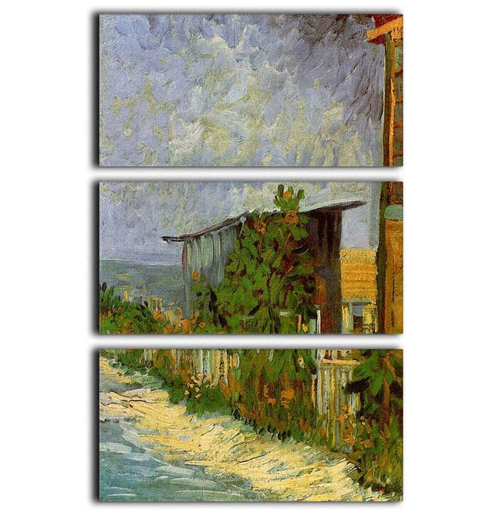 Montmartre Path with Sunflowers by Van Gogh 3 Split Panel Canvas Print