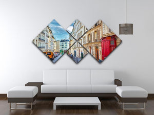 Montmartre in Paris 4 Square Multi Panel Canvas  - Canvas Art Rocks - 3