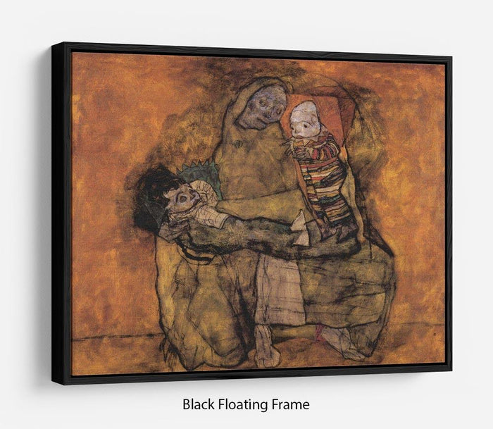 Mother with two children by Egon Schiele Floating Frame Canvas