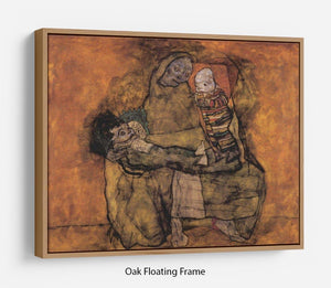 Mother with two children by Egon Schiele Floating Frame Canvas - Canvas Art Rocks - 9