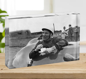 Motor racing driver Stirling Moss Acrylic Block - Canvas Art Rocks - 2