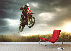 Motorbike jumps in the air Wall Mural Wallpaper - Canvas Art Rocks - 2