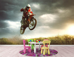 Motorbike jumps in the air Wall Mural Wallpaper - Canvas Art Rocks - 3