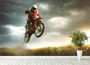 Motorbike jumps in the air Wall Mural Wallpaper - Canvas Art Rocks - 4