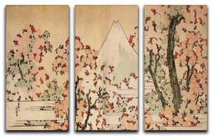 Mount Fuji behind cherry trees and flowers by Hokusai 3 Split Panel Canvas Print - Canvas Art Rocks - 1